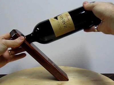 Self Balancing Wine Bottle Holder - Mahogany Wood