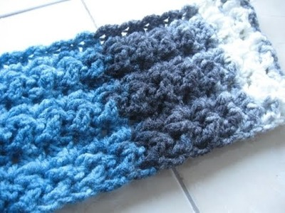 Star Fish Stitch Scarf REVISED - Left Handed Crochet Tutorial   Great Mens Scarf