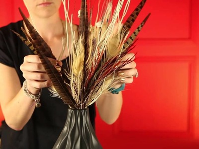 Thanksgiving , Holiday Centerpiece  , DIY Centerpiece with feathers , Holiday Decorating