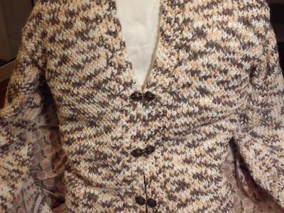Women's V-neck Cardigan Loom Knitting