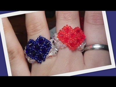 Beaded Heart Ring Advanced version Beading Tutorial by HoneyBeads1 (Photo tutorial)