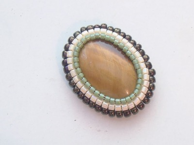 BeadsFriends: Square stitch - Beaded bezel eye of tiger cabochon | New Beadworks