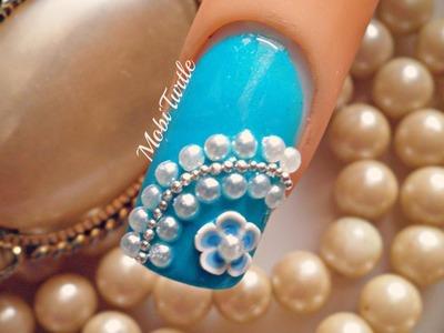 Blue Fimo Flower Pearl Beads Easy DIY Nail Art Design | 1 MINUTE TUTORIAL
