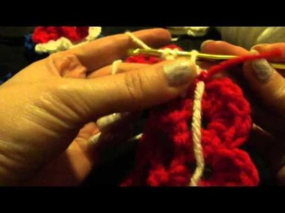 Crochet 3 layer multi color rosebud flower rosette red white blue tutorial how to make