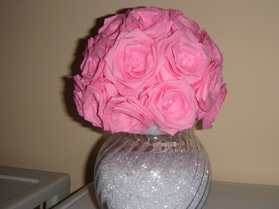♥ DIY Flower. Rose Vase made of Streamer Paper! ♥