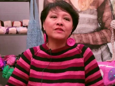 Lily Chin in the Lion Brand Booth at Vogue Knitting Live!