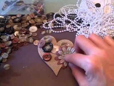 Vintage Burlap Heart Pin from Sizzix Die
