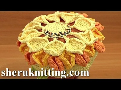Crochet Hat Flower Tutorial 8
