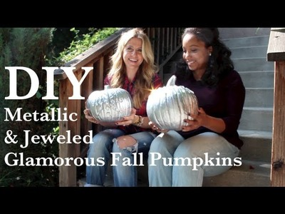 DIY Metallic And Jeweled Fall Pumpkins - So Glam!