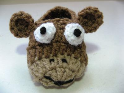 Easy crochet baby critter slippers