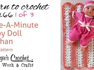 Mile-A-Minute Afghan Part 1 of 3 Right Hand Free Crochet Pattern FP266