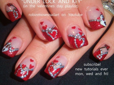 Nail Art Tutorial | DIY Valentine's Day Nails | Heart Nails under Lock & Key!!