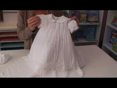 White Cotton Blend Baby Girls Christening Dress
