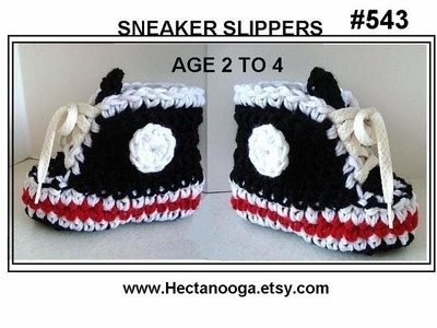 CROCHET BLACK SNEAKER SLIPPERS, age 2 to 4, PART 1, boys booties slippers, free pattern