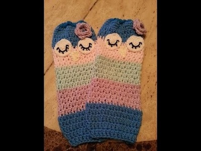 Crochet Child Sleepy Owl Leg Warmers DIY tutorial