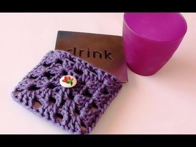 Crochet Granny Square Coaster Pouch - Crochet Granny Square