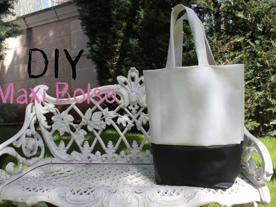 DIY: Maxi bolso de cuero blanco y negro. DIY leather black and white bag