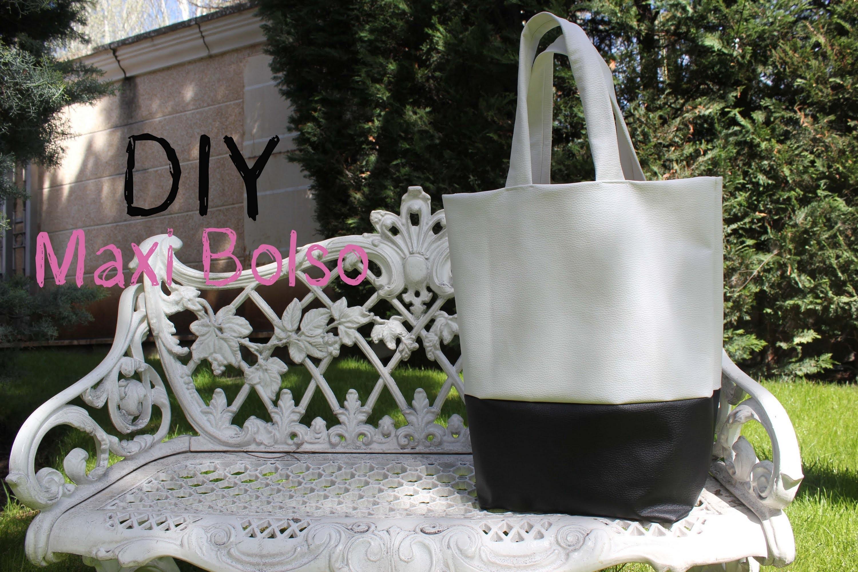 DIY: Maxi bolso de cuero blanco y negro. DIY leather black and white bag