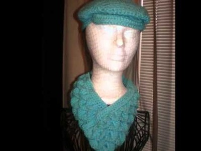 Jeff Crochet Cap with Crocodile Scale Stitch Neckwarmer
