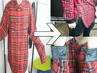 KAD Transformations #1: Oversized flannel to Elongated Zipped Flannel