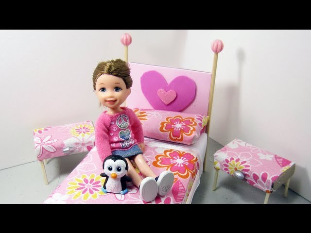 Make a bed and side tables from cardboard for your doll house - Doll Crafts