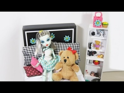Make a bed for MH Doll Frankie using a Shoe Or Memory Box - Doll Crafts