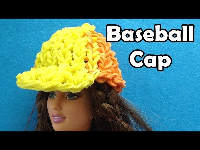 Rainbow Loom Baseball Hat. Cap. Beanie for Barbie Doll made with Loom Bands