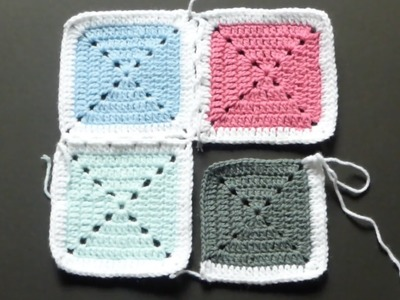 CROCHET ALONG - Attaching Granny Squares With Single Crochet - Version #2 (4Right Handed)