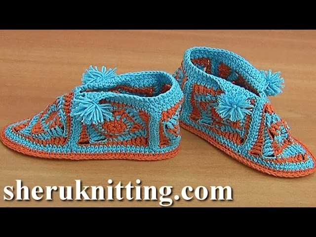 Crochet Square Motif  Booties with Pompoms Tutorial 42 Part 1 of 2 Ganchillo zapatitos