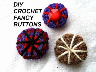 Diy crochet 3 fancy buttons, crochet pattern,
