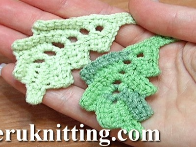 How To Crochet Two-Side Curved Leaf Work In Back Loops Tutorial 4