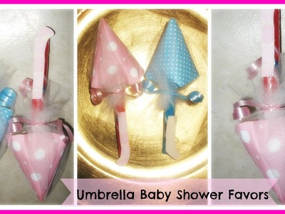 How to Make Umbrella Baby Shower Favors Tutorial. DIY Candy Umbrella Baby Shower Favors