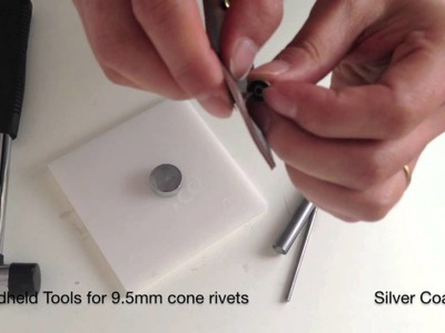 How to use handheld tool to set up cone rivets -- leather craft, sewing, crafts