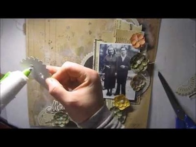 Make your own VINTAGE scrapbooking layout 'Memories' page tutorial