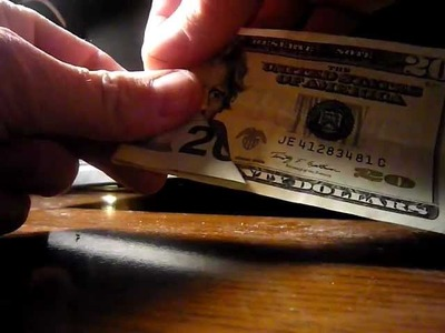 Money origami - Folding a $20 bill shows Noah's Ark sitting on top of a mountain
