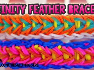Rainbow Loom Tutorial Infinity Feather Brace with One Loom - How To