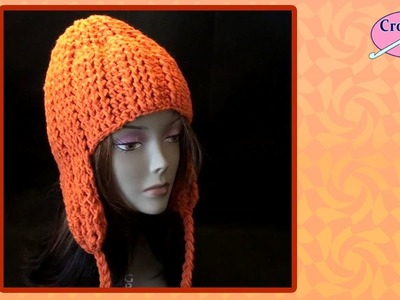 Crochet Cable Stitch Hat with Ear Flaps
