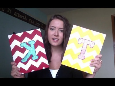 DIY: Chevron Canvas with Glitter Initial :)