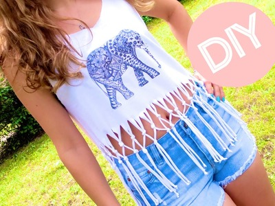 DIY Clothes! Fringe Crop Top + Print Your Own T-shirt (Graphic Tee) no Sew!