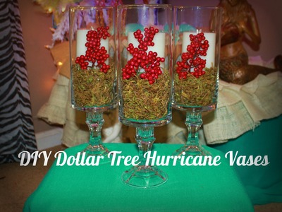 DIY Dollar Tree Hurricane Vases for Christmas!!