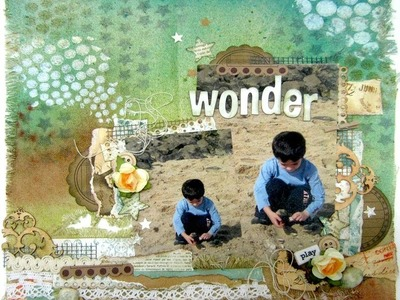Mixed Media Canvas Fabric Scrapbooking Layout