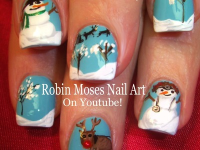 Nail Art Tutorial | DIY Christmas Nail Art | Snowmen & Reindeer Nails for Xmas!!!