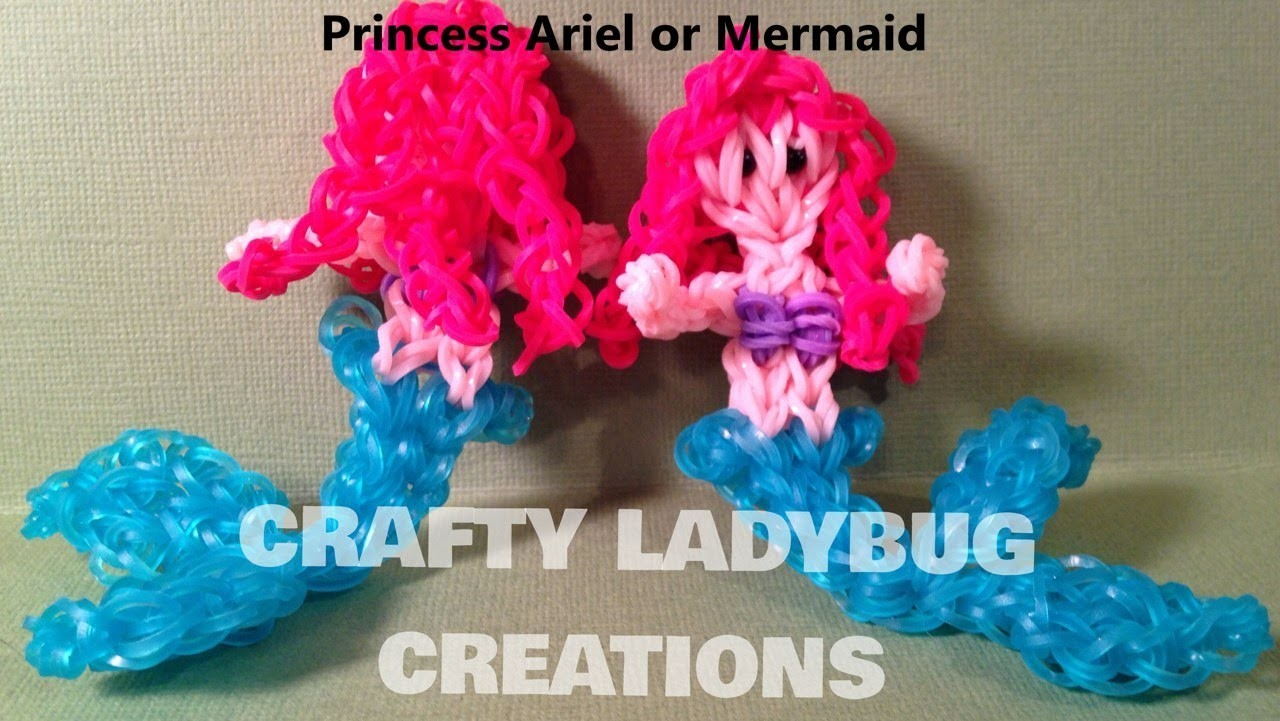 Rainbow Loom Charm ARIEL THE LITTLE MERMAID ACTION FIGURE How to Make by Crafty Ladybug