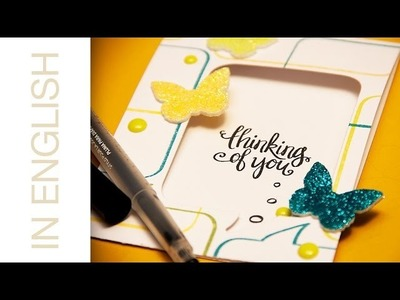 Adding glitter to foam shapes. Just Thinking of You card