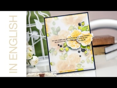 Altenew Rose Bushed Stamped Patterned Paper & Embellishments Card