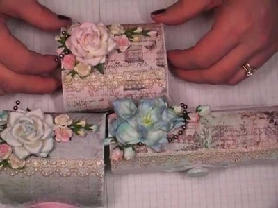 Altered Balsa Boxes using Scrapbook Paper and Mulberry Paper Flowers