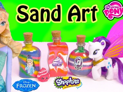 Disney Queen Elsa Frozen Stickers Sand Art Fun Craft Set Kit Shopkins My Little Pony Toy Unboxing