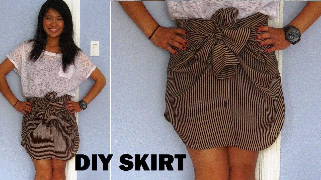 DIY: Long Sleeve Shirts into Skirts (No Sewing) | FashionbyAlly
