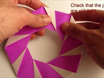 Origami Modular Candy-Cane Wreath