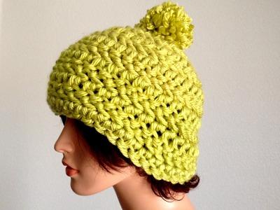 30 Minutes Project 2: How To Crochet a Chunky pom Pom Beanie